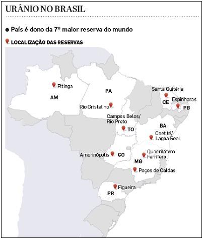 브라질의 우라늄 매장 지역 [브라질원자력산업(INB)]