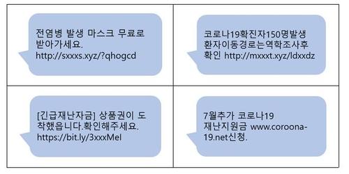 코로나19 긴급재난지원금 사칭 문자