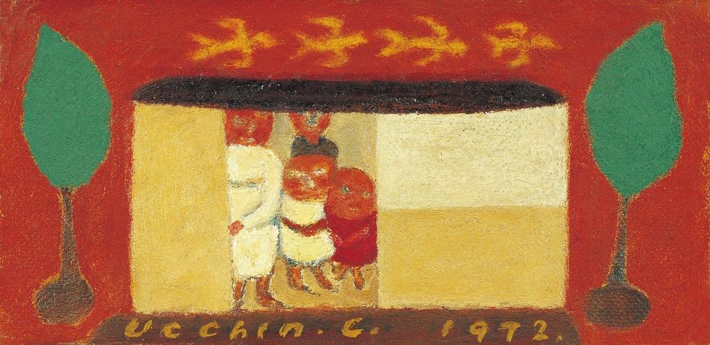 장욱진, 가족도, 1972, 캔버스에 유채, 7.5×14.8cm [현대화랑 제공. 재판매 및 DB 금지]