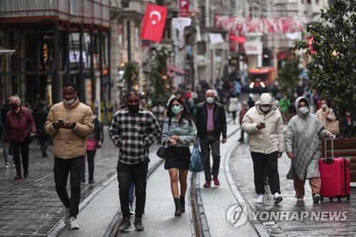 터키 이스탄불의 번화가 이스티클랄 거리