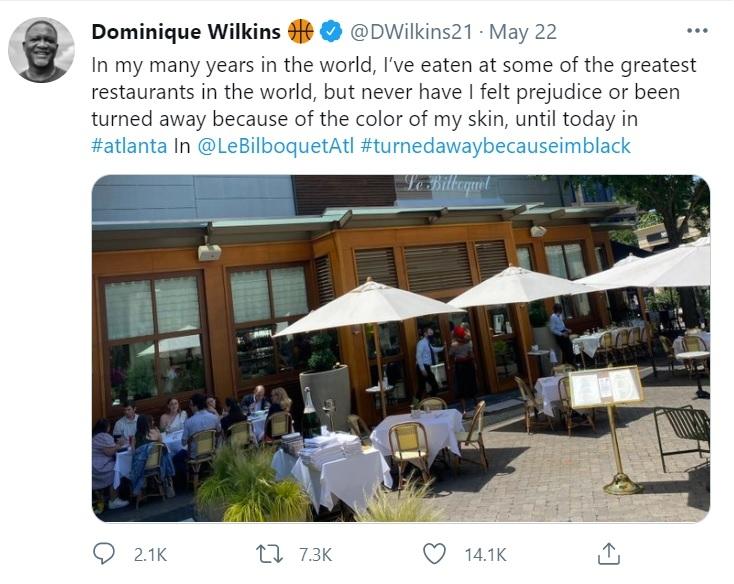 미국프로농구(NBA)의 전설적 선수인 도미니크 윌킨스가 22일 흑인이라는 이유로 애틀랜타 고급 식당의 입장을 거부당했다고 트위터에서 주장했다. [출처: 도미니크 윌킨스 트위터]