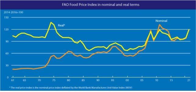 명목 및 실질 식량가격지수
