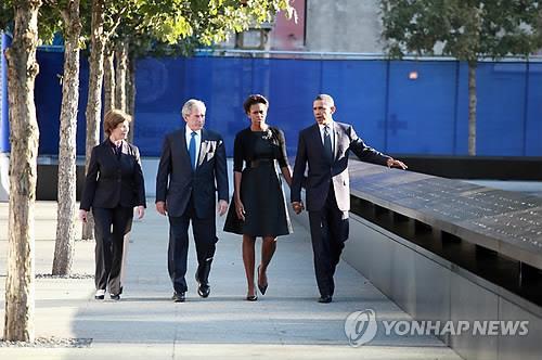 9·11 테러 10주기 행사에 참석한 오바마, 부시 전 대통령 부부