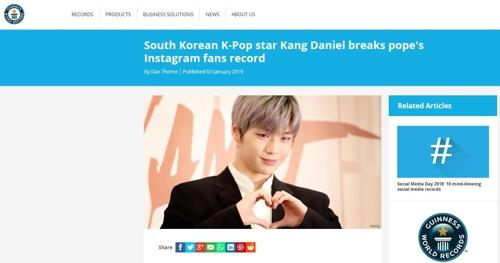 Kang Daniel de Wanna One supera el récord de Instagram del papa Francisco