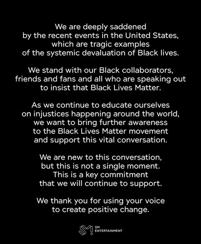SM Entertainment expresa su apoyo al movimiento Black Lives Matter