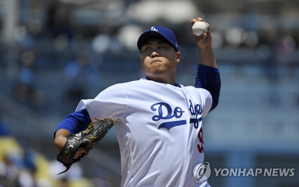 En la fotografía de Associated Press, se muestra al jugador surcoreano de béisbol Ryu Hyun-jin, durante el encuentro disputado, el 11 de agosto de 2019 (hora local), contra los Arizona Diamondbacks, en el Dodger Stadium en Los Ángeles. (Prohibida su reventa y archivo)