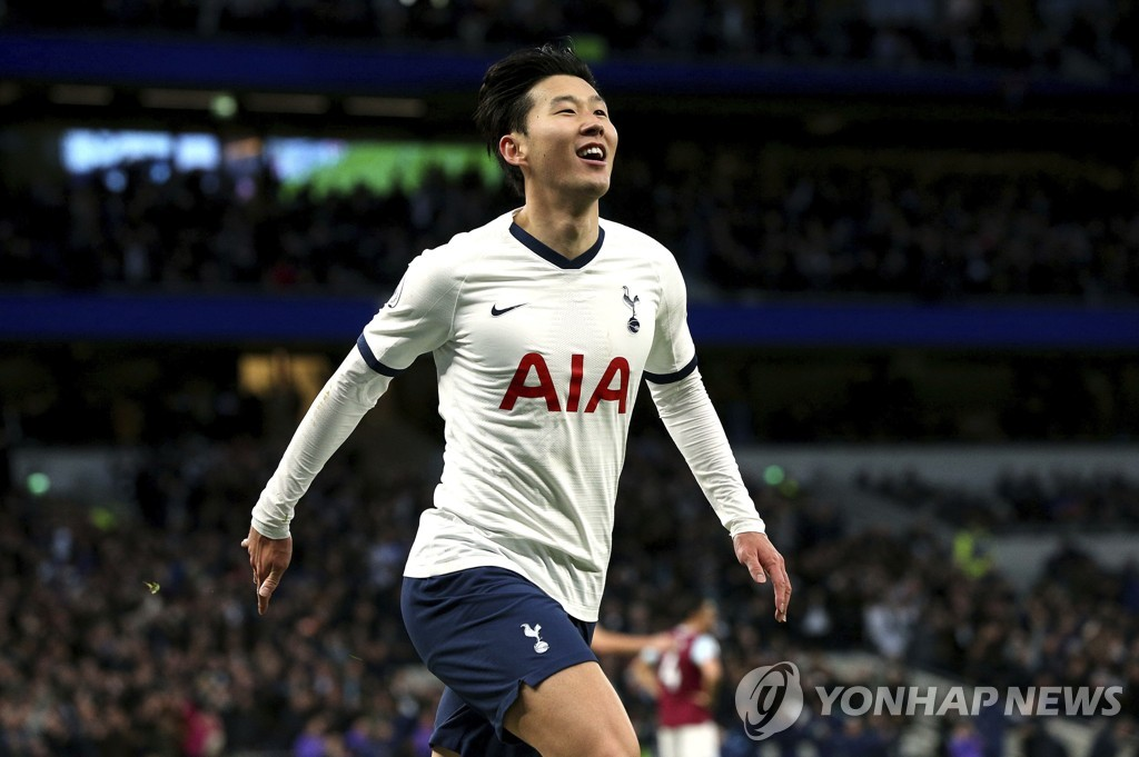 In this Associated Press photo, Son Heung-min of Tottenham Hotspur celebrates his goal against Burnley during the clubs' Premier League match at Tottenham Hotspur Stadium in London on Dec. 7, 2019. (Yonhap)