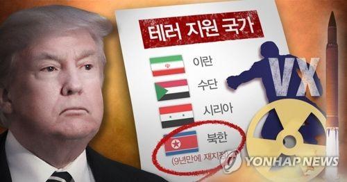 트럼프, 2017년 북한 테러지원국 재지정 (PG)