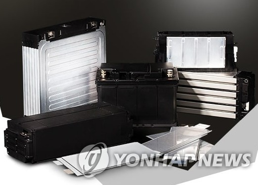 This file photo shows EV battery packs made by LG Chem (Yonhap)