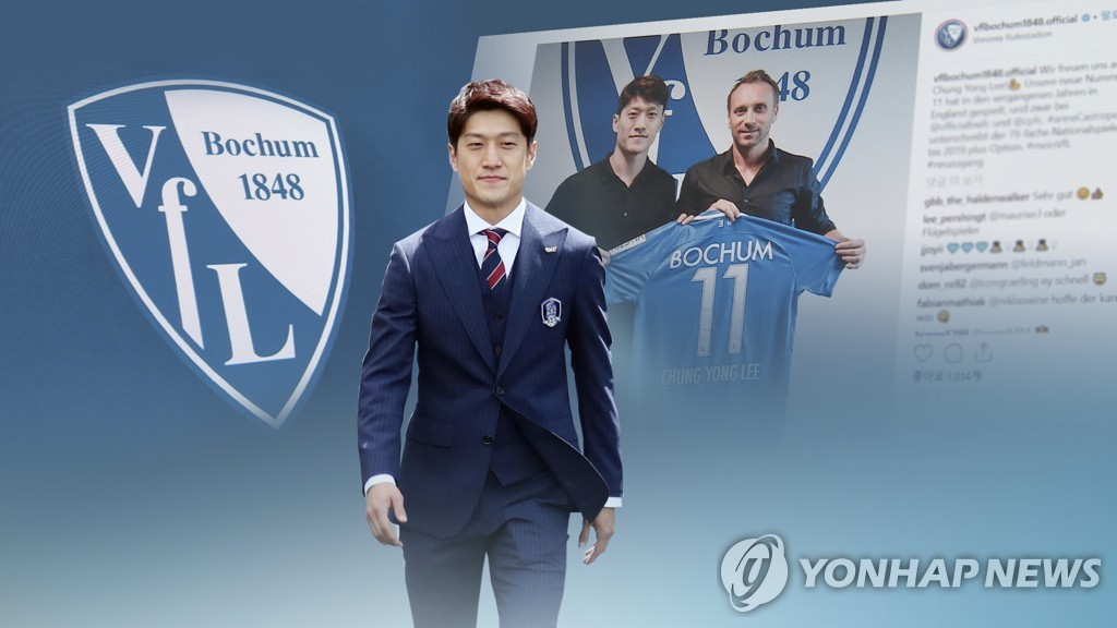This composite image from Yonhap News TV shows VfL Bochum's South Korean midfielder Lee Chung-yong. (Yonhap)