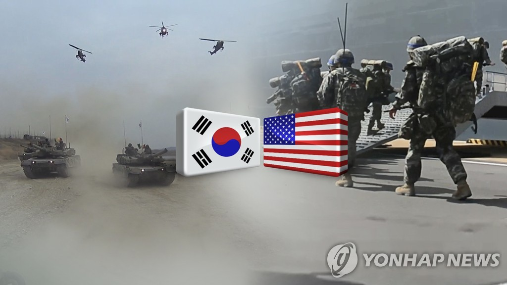 This image, provided by Yonhap News TV, shows South Korean and U.S. troops in a combined exercise. (Yonhap)