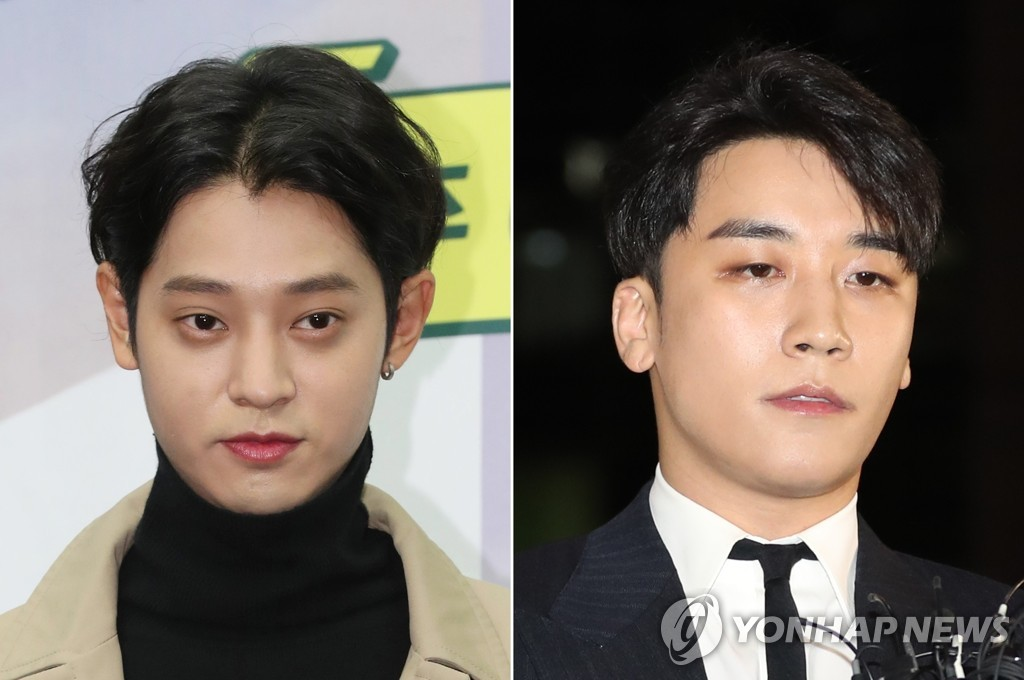 TV celebrity and singer Jung Joon-young (L) and BIGBANG member Seungri (Yonhap)