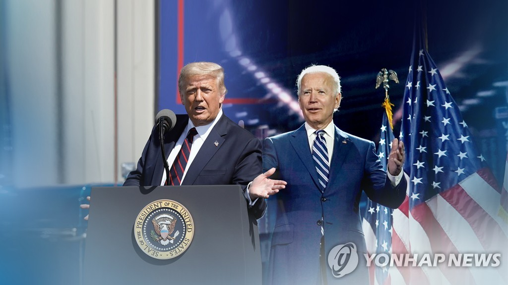The image provided by Yonhap News TV shows U.S. President Donald Trump (L) and his Democratic rival, Joe Biden, in the U.S. presidential election that will be held Nov. 3, 2020. (PHOTO NOT FOR SALE) (Yonhap)
