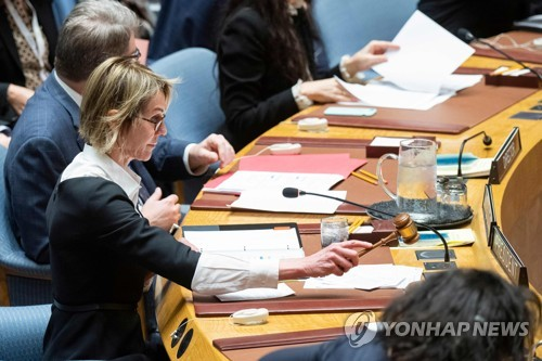 This AFP photo shows U.S. Ambassador to the U.N. Kelly Craft chairing a U.N. Security Council meeting on North Korea at the U.N. headquarters in New York on Dec. 11, 2019. (Yonhap)