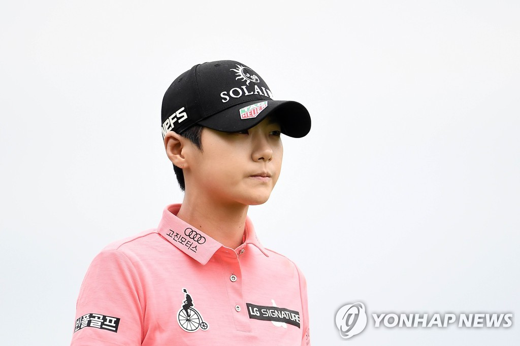 In this AFP photo, Park Sung-hyun of South Korea walks off the third tee during the third round of the KPMG Women's PGA Championship at Hazeltine National Golf Club in Chaska, Minnesota, on June 22, 2019. (Yonhap)