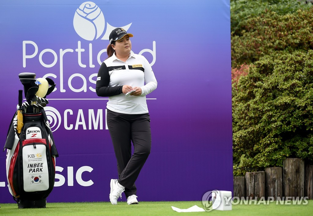In this Getty Images file photo from Sept. 18, 2020, Park In-bee of South Korea waits on the first tee during the first round of the Cambia Portland Classic at Columbia Edgewater Country Club in Portland. (Yonhap)