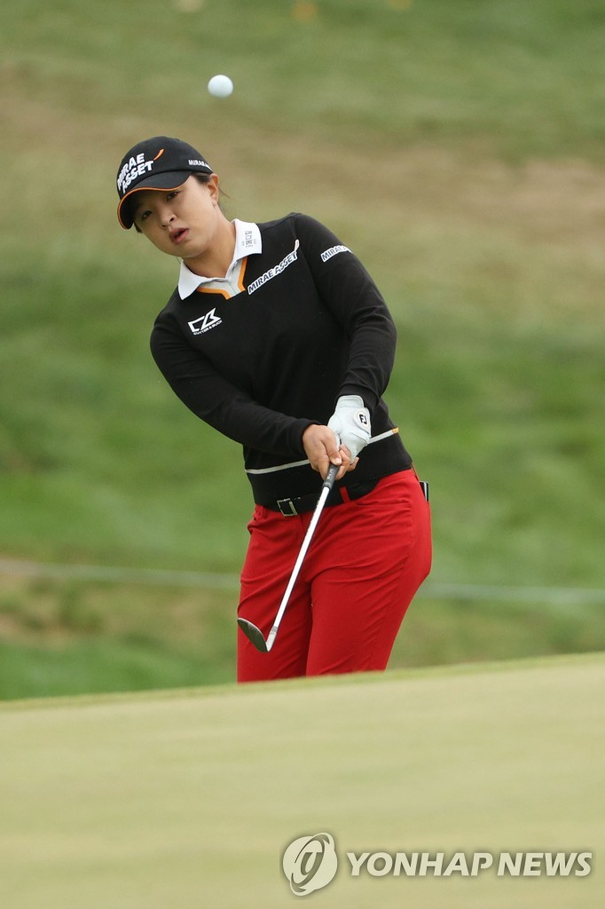In this Getty Images photo, Kim Sei-young of South Korea plays a shot on the seventh hole during the final round of the KPMG Women's PGA Championship at Aronimink Golf Club in Newtown Square, Pennsylvania, on Oct. 11, 2020. (Yonhap)