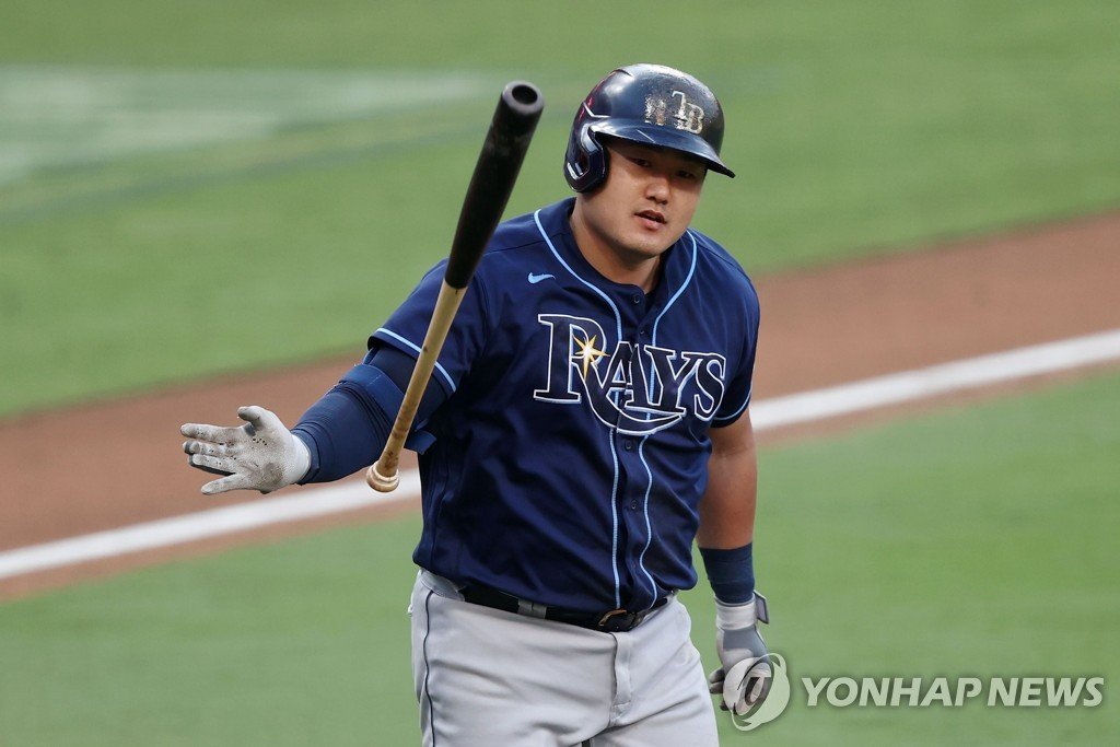 In this Getty Images photo, Choi Ji-man of the Tampa Bay Rays tosses his bat after hitting a solo home run against the Houston Astros during the top of the eighth inning of Game 5 of the American League Championship Series at Petco Park in San Diego on Oct. 15, 2020. (Yonhap)