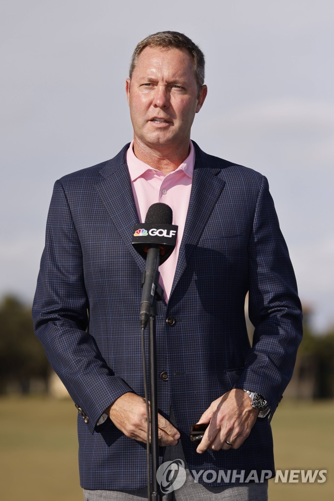 In this Getty Images file photo from Dec. 20, 2020, LPGA Commissioner Mike Whan speaks during the trophy ceremony for the CME Group Tour Championship at Tiburon Golf Club in Naples, Florida. (Yonhap)
