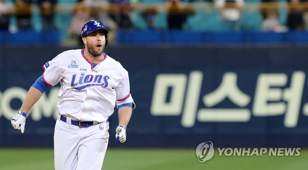 In this file photo taken on May 2, 2017, Darin Ruf of the Samsung Lions celebrates his walk-off home run against the Doosan Bears in the bottom of the 10th inning of their Korea Baseball Organization regular season game at Daegu Samsung Lions Park in Daegu. (Yonhap)