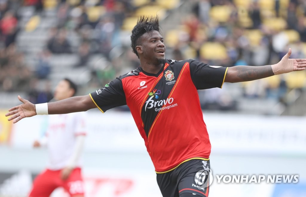 In this file photo, taken March 4, 2018, Gyeongnam FC's Brazilian striker Marcao celebrates after scoring a goal against Sangju Sangmu in a K League 1 match at Changwon Football Center in Changwon. (Yonhap)
