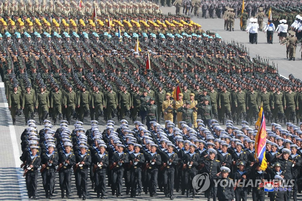 In this file photo, taken on Sept. 9, 2018, and released by the North's official Korean Central News Agency, North Korean soldiers march during a military parade at Kimilsung Square in Pyongyang to mark the 70th anniversary of North Korea's founding day. (For Use Only in the Republic of Korea. No Redistribution) (Yonhap)