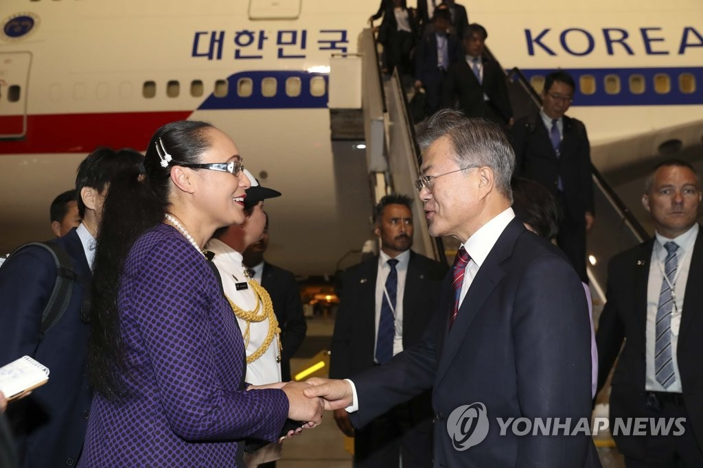 (LEAD) S. Korean president arrives in New Zealand on state visit