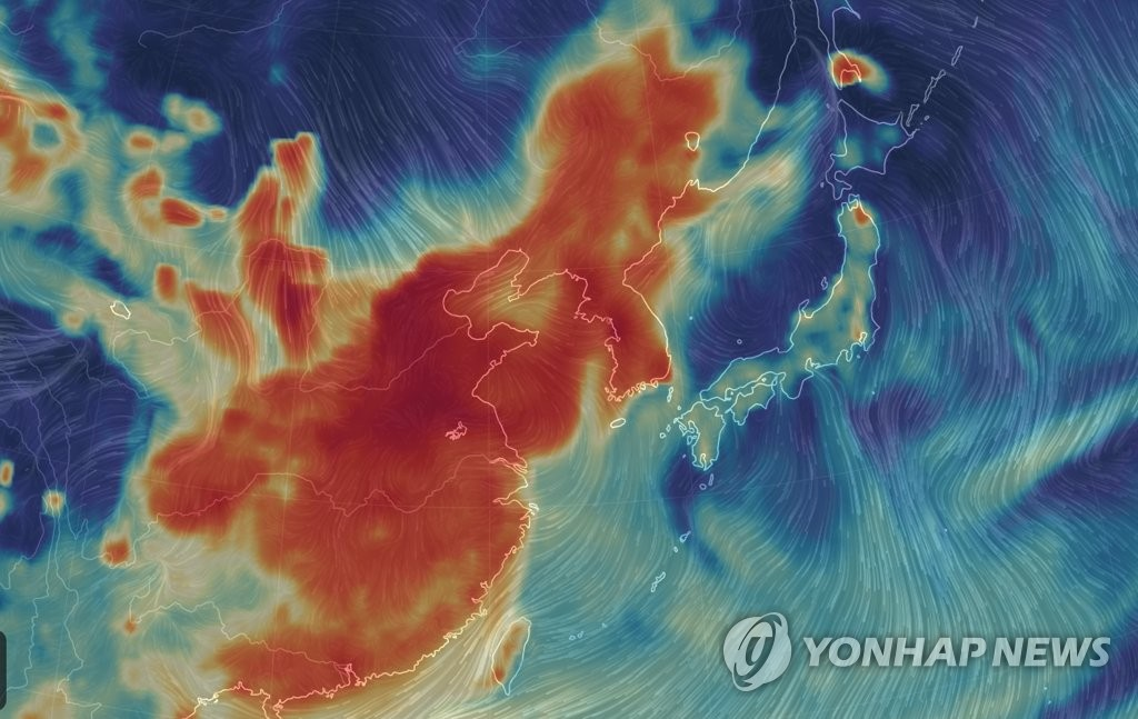 Carte montrant la pollution atmosphérique aux particules fines en Chine et sur la péninsule coréenne le mercredi 14 mars 2019. © Capture d'écran du site Internet earth.nullschool.net