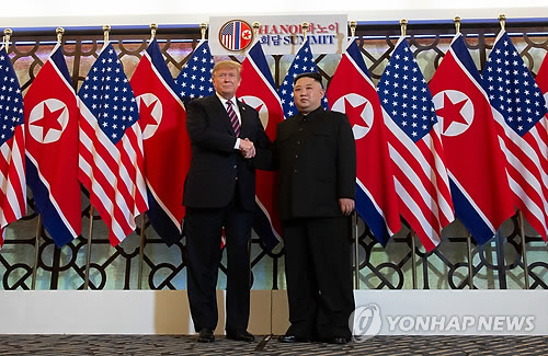 (LEAD) (US-NK summit) Trump, Kim to sign Hanoi declaration, wording matters