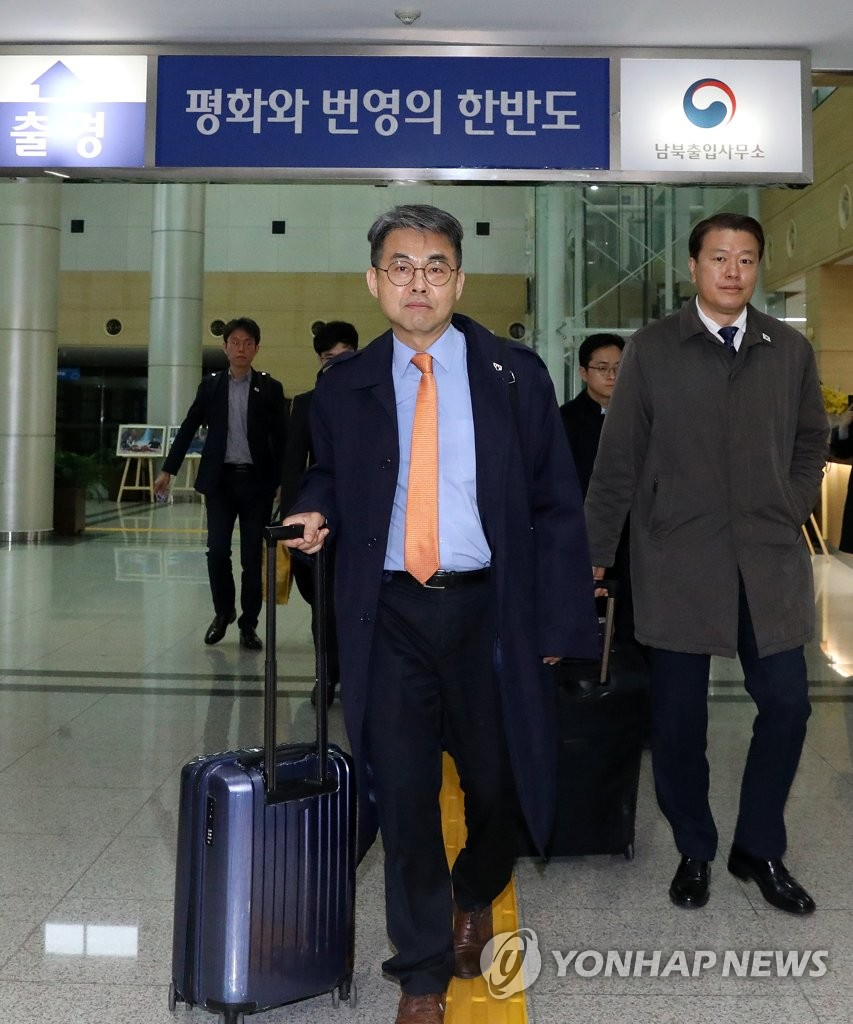 This Joint Press Corps' photo shows Kim Chang-su, deputy head of the joint liaison office, heading to the North's border town of Kaesong on March 25, 2019. (Yonhap)