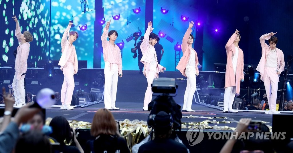 This photo of BTS performing at Wembley Stadium in London on June 1, 2019 is provided by Big Hit Entertainment. (Yonhap)