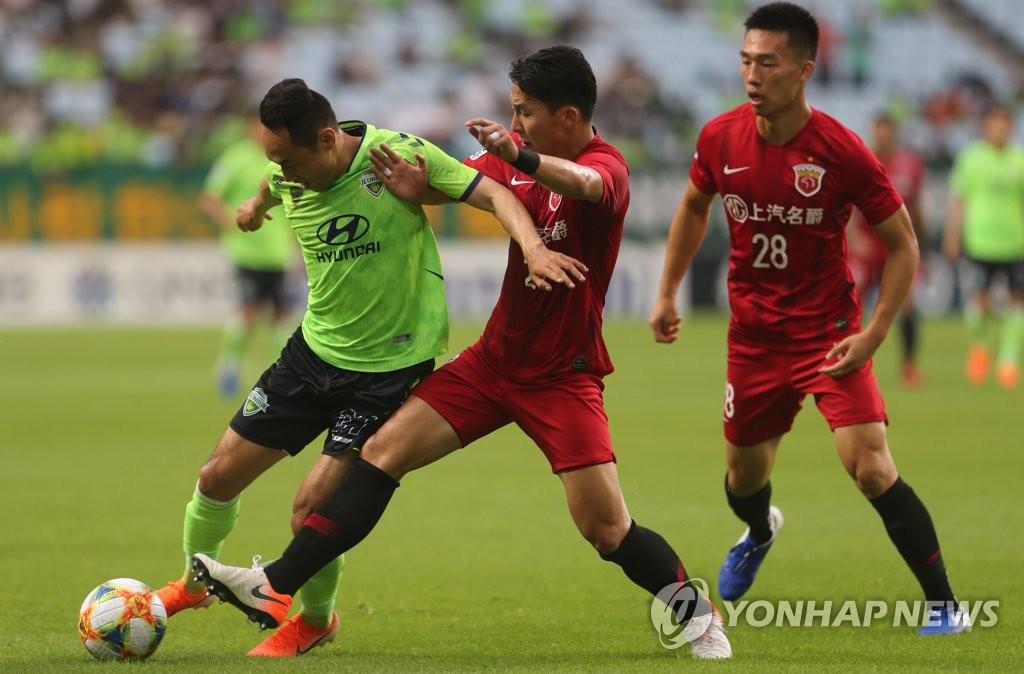 지난 시즌 전북과 상하이 상강의 경기 장면