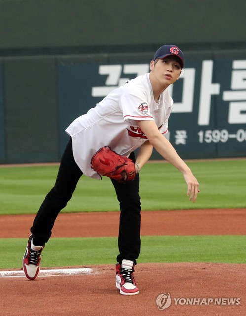 K-pop star opens baseball game