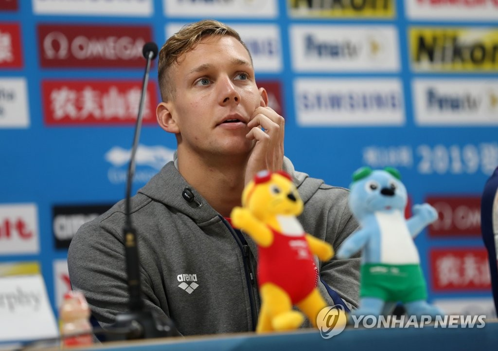 U.S. swimmer Caeleb Dressel speaks at a press conference for the American swimming team at the FINA World Championships at Nambu University's Main Press Center in Gwangju, 330 kilometers south of Seoul, on July 19, 2019. (Yonhap)