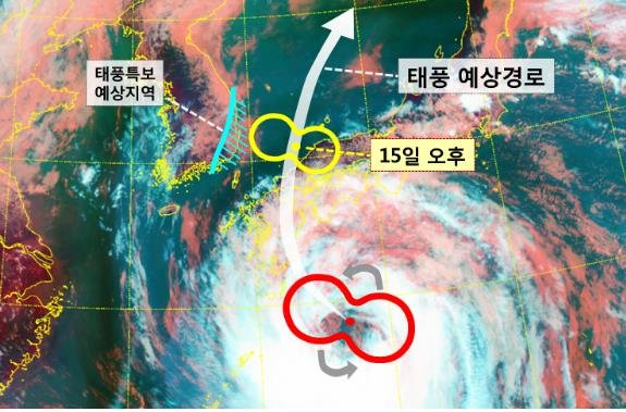 This image, provided by the Korea Meteorological Administration (KMA), shows the projected course of Typhoon Krosa on Aug. 14, 2019. (PHOTO NOT FOR SALE) (Yonhap)