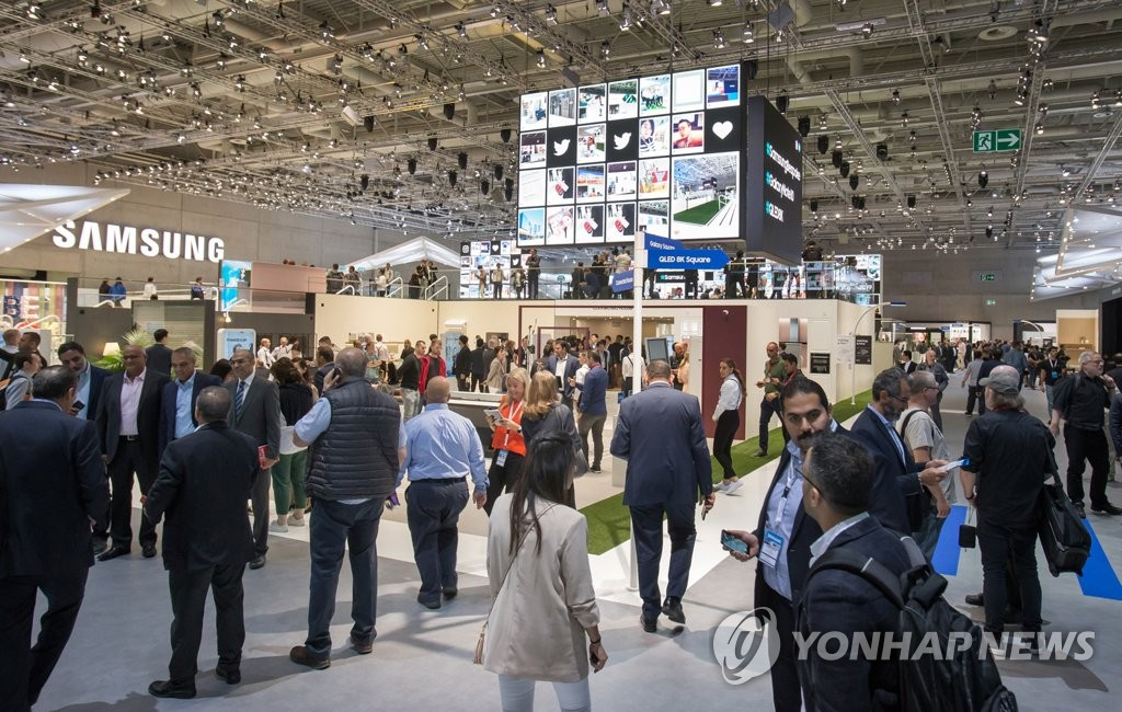 This photo provided by Samsung Electronics Co. on Sept. 6, 2019, shows Samsung's exhibition booth at the IFA 2019 in Berlin, Germany. (PHOTO NOT FOR SALE) (Yonhap)