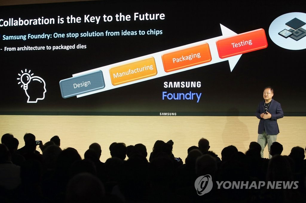 Park Jae-hong, executive vice president of foundry design platform development at Samsung Electronics Co., speaks during the Samsung Advanced Foundry Ecosystem Forum at the Samsung Device Solutions America office in San Jose, California, on Oct. 18, 2019, in this photo provided by the company. (PHOTO NOT FOR SALE) (Yonhap)