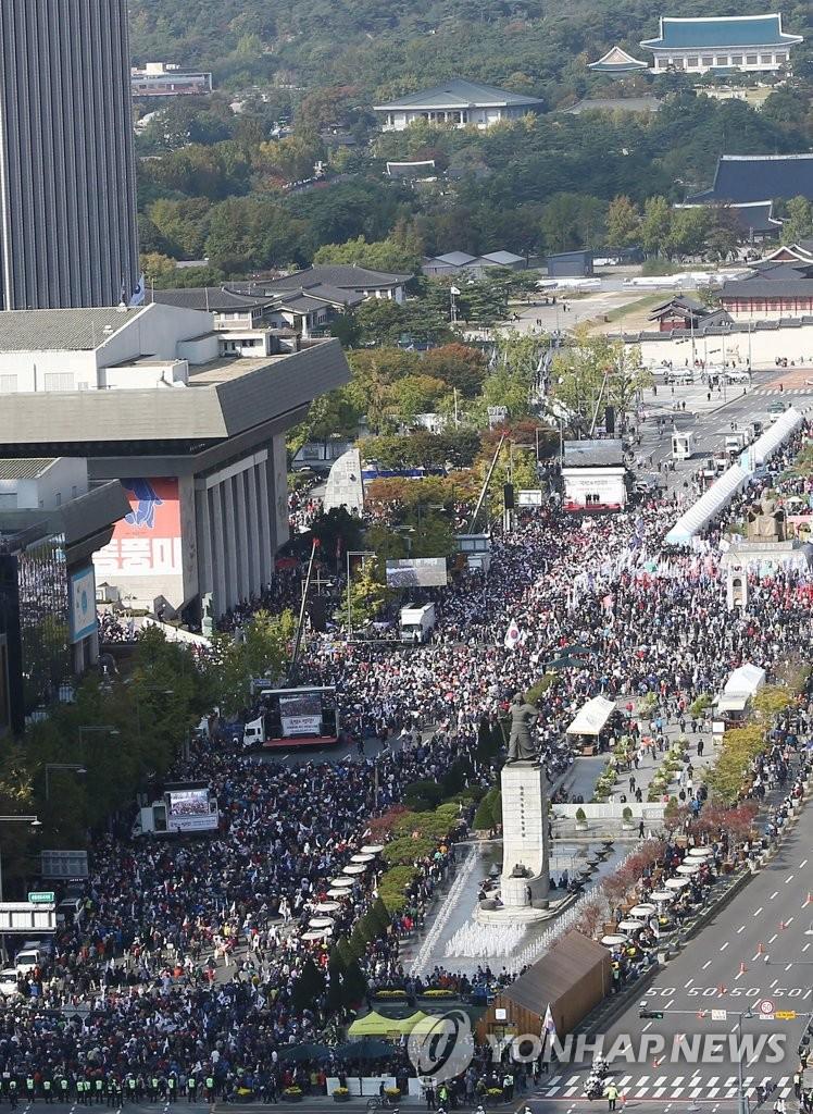 주말 광화문광장 자유한국당 집회