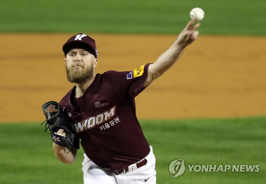In this file photo from Oct. 22, 2019, Eric Jokisch of the Kiwoom Heroes pitches against the Doosan Bears in Game 1 of the Korean Series at Jamsil Stadium in Seoul. (Yonhap)