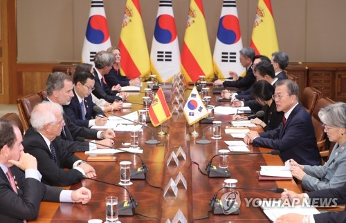 Spanish king visits Korea