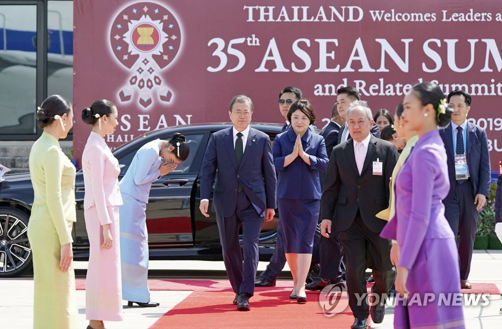 This file photo, dated Nov. 5, 2019, shows President Moon Jae-in arriving in Bangkok to attend ASEAN-hosted summits. (Yonhap)
