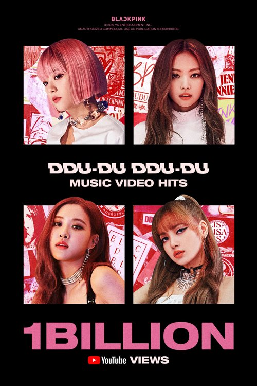 "A promotional image provided by YG Entertainment on Nov. 11, 2019, in celebration of the music video for ""Ddu-du Ddu-du"" by K-pop girl group BLACKPINK collecting over 1 billion views on YouTube. (PHOTO NOT FOR SALE) (Yonhap)"