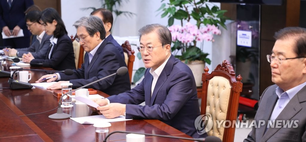 President Moon Jae-in speaks at his regular meeting with senior Cheong Wa Dae aides at his office in Seoul on Dec. 2, 2019. (Yonhap)