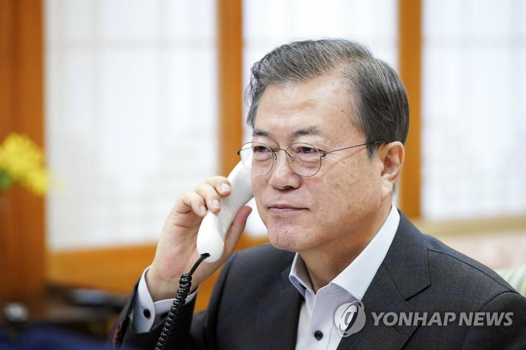 文대통령-트럼프 통화…비핵화 대화 모멘텀 유지 공감(종합) | 연합뉴스