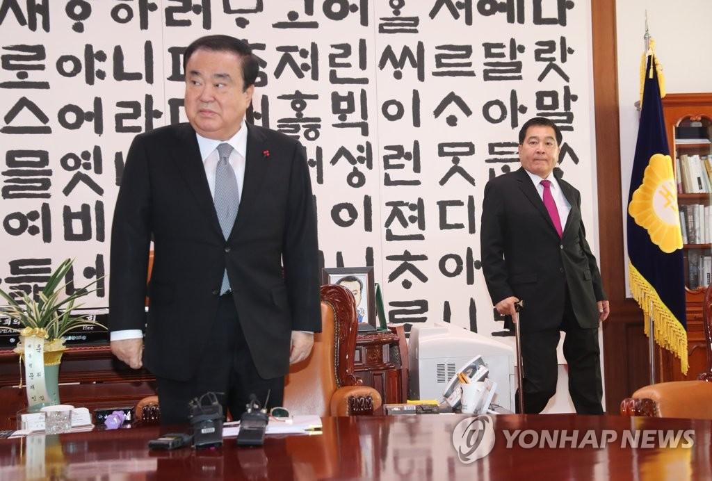 文의장, 3당 원내대표 재소집…'필리버스터 신청' 한국당 불참 | 연합뉴스