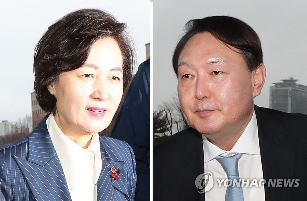 These photos, taken on Jan. 7, 2020, show Justice Minister Choo Mi-ae (L) and Prosecutor General Yoon Seok-youl. (Yonhap)
