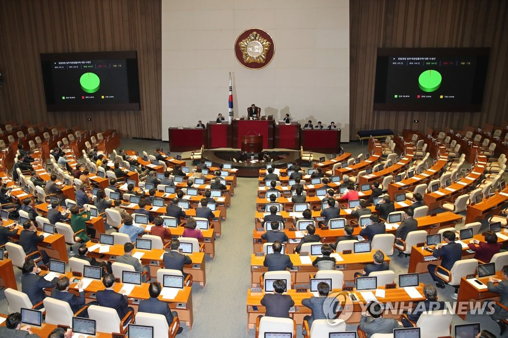 Screens show the result of a vote on revision of the prosecution office act at the National Assembly in Seoul on Jan. 13, 2020. The National Assembly passed the revisions to the criminal procedure act and the prosecution office act, designed to transfer much of the prosecution's investigative authority to police, in votes boycotted by the main opposition Liberty Korea Party. (Yonhap)