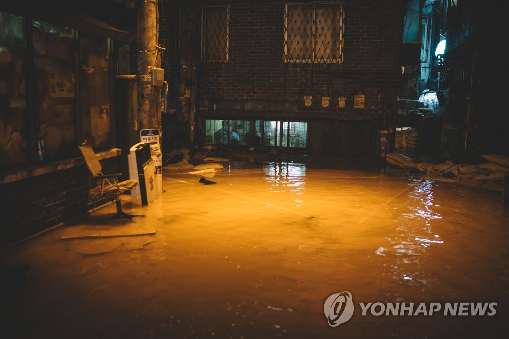 "This image, provided by the Goyang city government, shows a scene from the film ""Parasite"" where the Kim family's semi-basement apartment was damaged from a flood. It was filmed at a special effects studio in Gyeonggi Province. (PHOTO NOT FOR SALE)(Yonhap)"