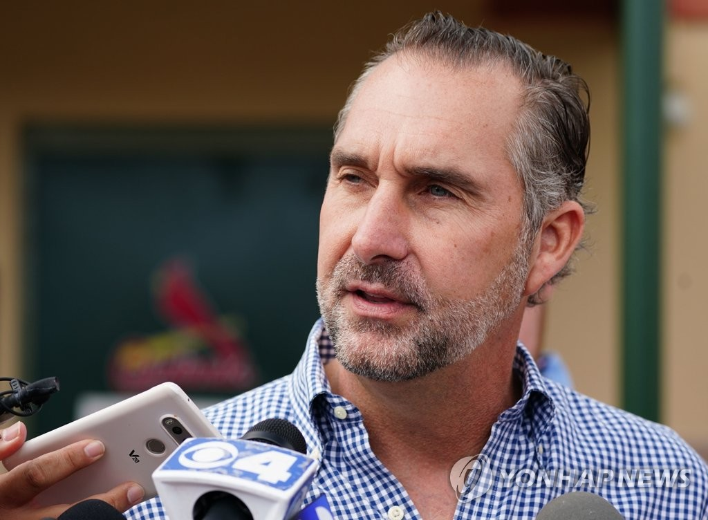 John Mozeliak, president of baseball operations for the St. Louis Cardinals, speaks to reporters at Roger Dean Chevrolet Stadium in Jupiter, Florida, on Feb. 12, 2020. (Yonhap)