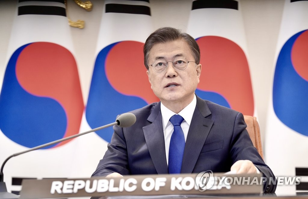 President Moon Jae-in speaks during a video conference of the ASEAN-plus-three summit at the presidential office Cheong Wa Dae in Seoul on April 14, 2020, in this photo provided by his office. (PHOTO NOT FOR SALE) (Yonhap)